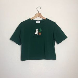 JANWIENER Green 'CAT AND ME' Cropped T-shirt OS